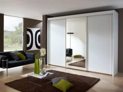 Шкаф в Гостинную Белый ЛДСП+Зеркало